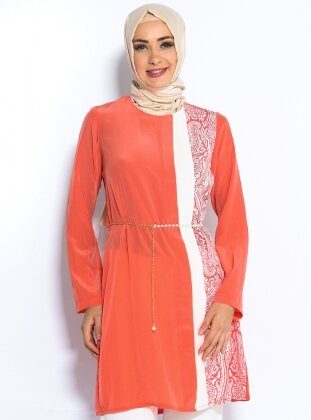 İnci Kemerli Tunik - Mercan - Cml Collection
